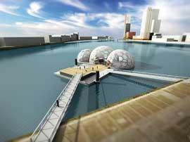 pabellón flotante en exposición de Rotterdam