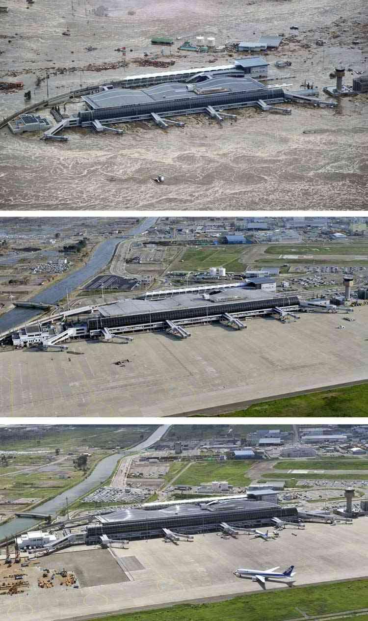 aeropuerto de Sendai durante el tsunami y tras la limpieza