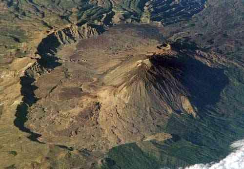 cráter de Las Cañadas del Teide, vista aérea
