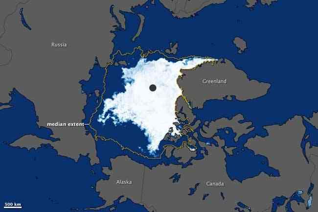 extensión del hielo marino del Ártico, septiembre 2011