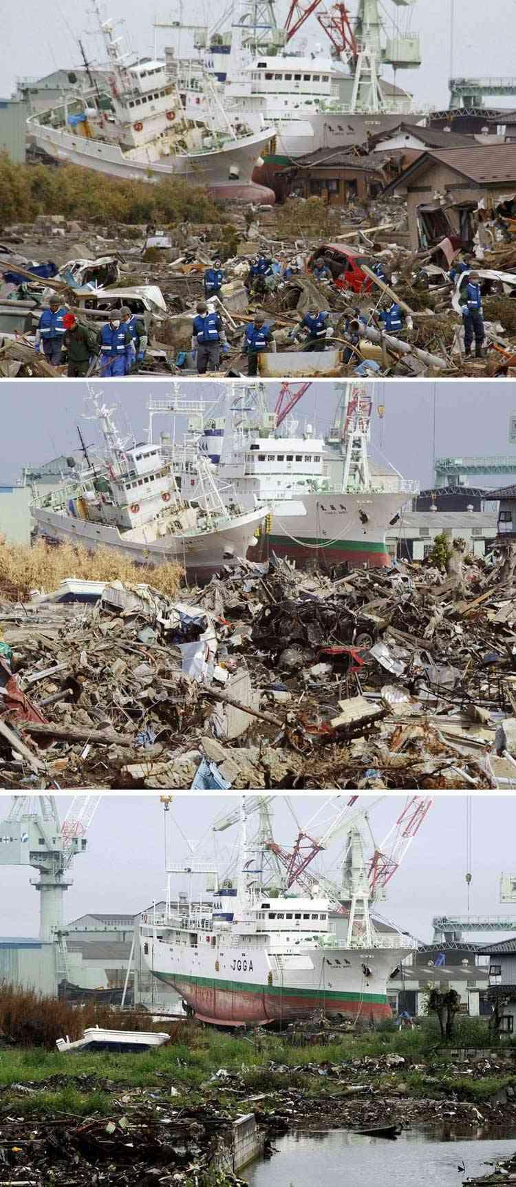 trabajos de limpieza  tras el tsunami en Higashimatsushima, Japón