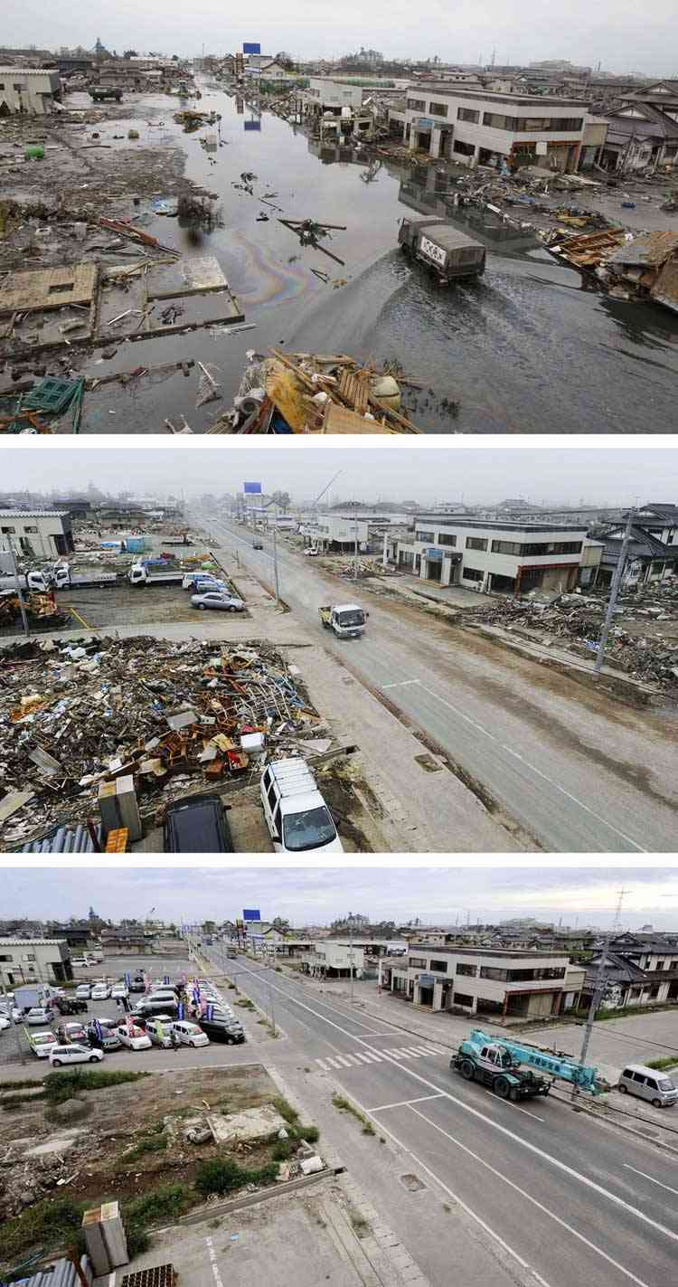 muestra de la limpieza en Ishinomaki tras el tsunami