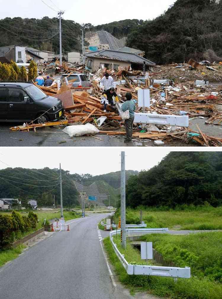 retirada de escombros en Iwaki, Japón tras el tsunami