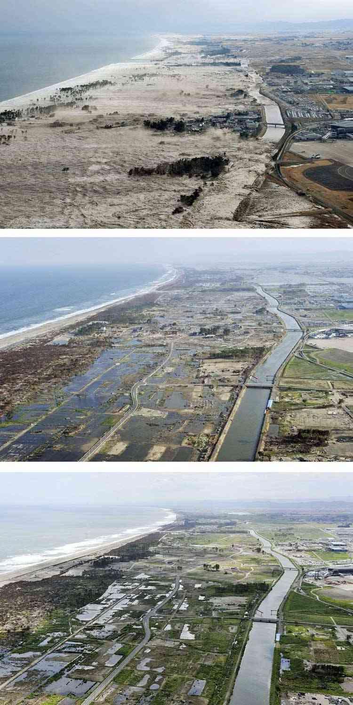 progreso de la limpieza en Iwanuma, Japón
