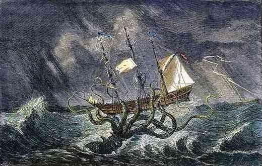 Un kraken ataca un barco