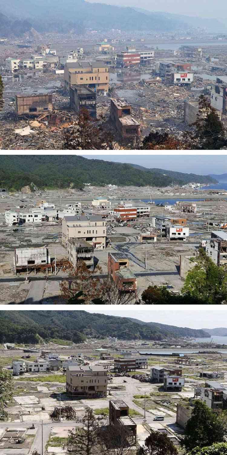 Limpieza tras el tsunami en Otsuchicho, Japón