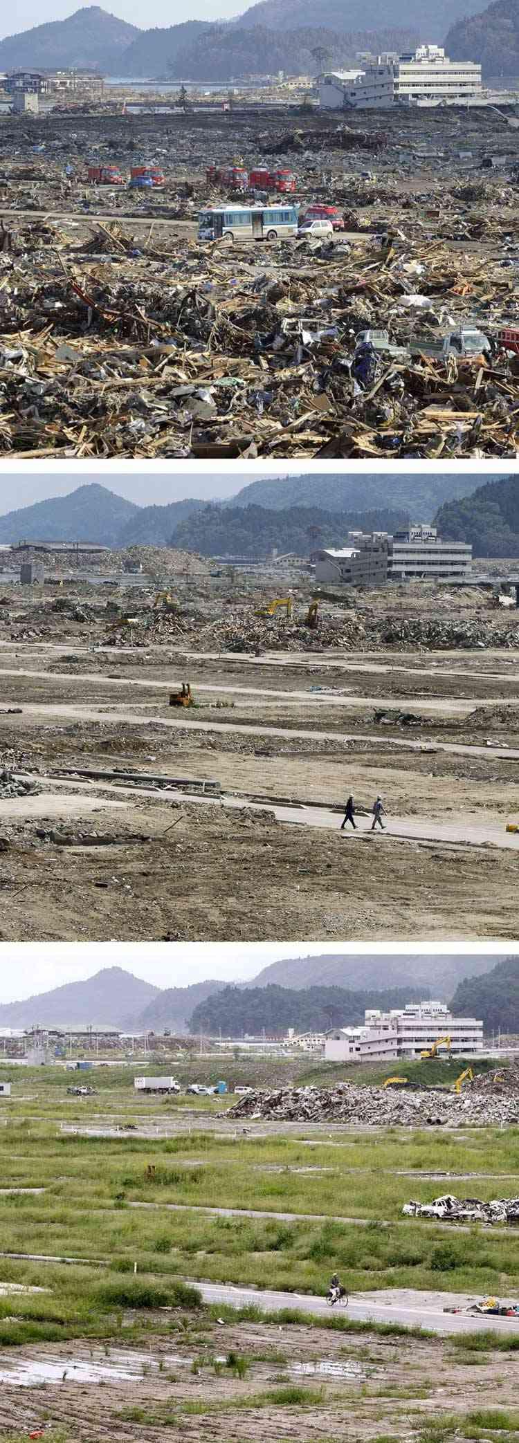 efectos del tsunami en Rikuzentakata, Japón