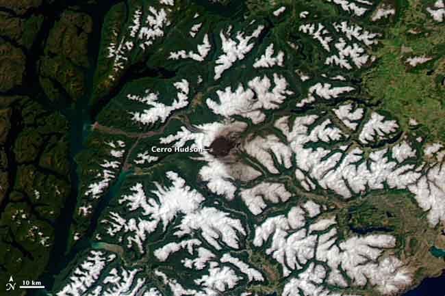 las cenizas de volcán Hudson desde satélite