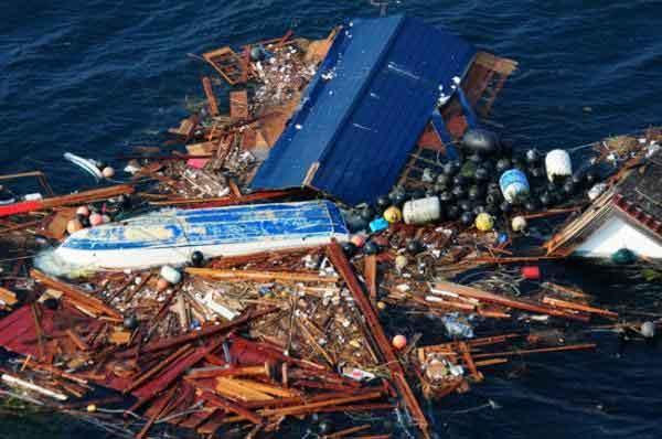 escombros del tsunami de Japón en el Océano Pacífico