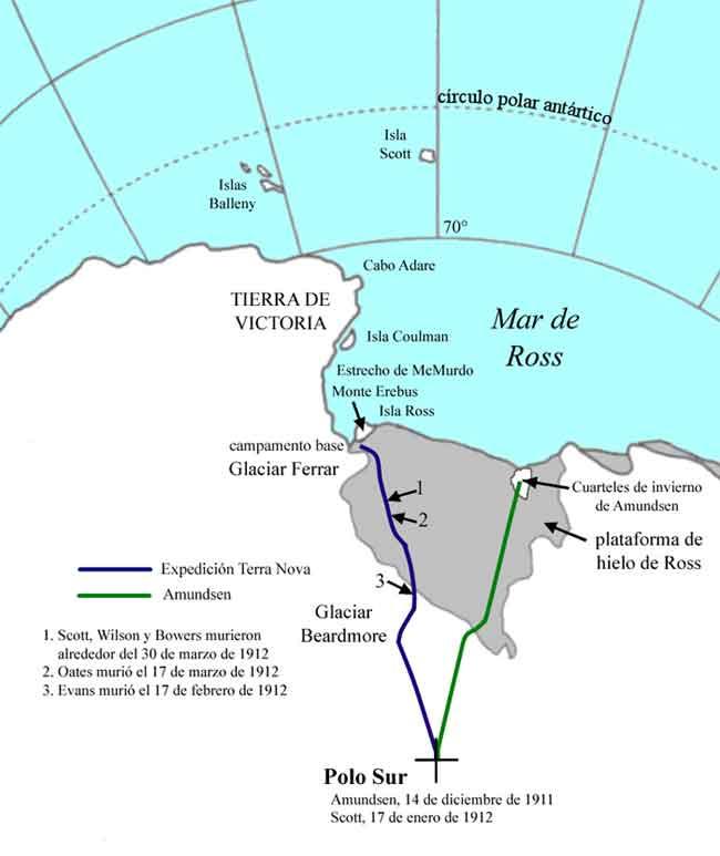 expedición Terra Nova, mapa de las rutas al Polo Sur