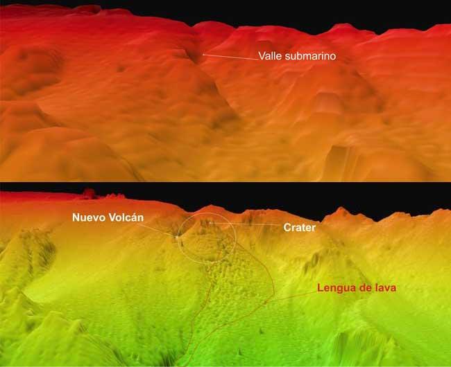 fondo submarino de El Herro antes y después erupción nuevo volcán