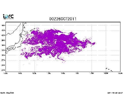 posible trayectoria por el Pacífico de los escombros del tsunami