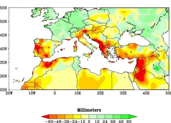 sequías de invierno en el Mediterráneo