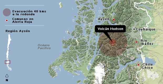 volcán Hudson, Chile - localización