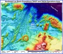 volcán submarino West Mata, mapa batimétrico