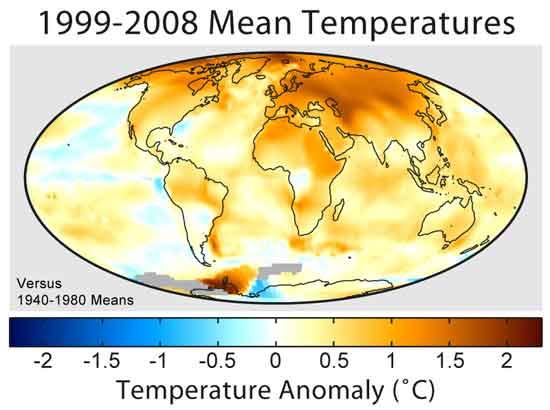 aumento temperaturas en el periodo 1999-2008
