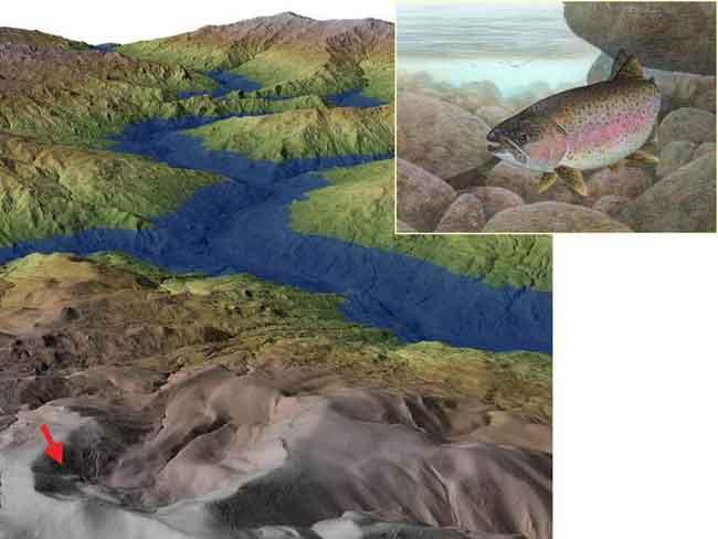 deslizamiento paleo-lago y trucha