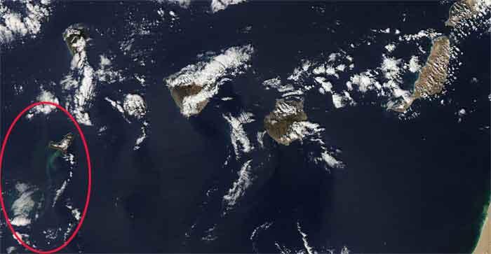 erupción de El Hierro desde el espacio, satélite Aqua 04-11-2011