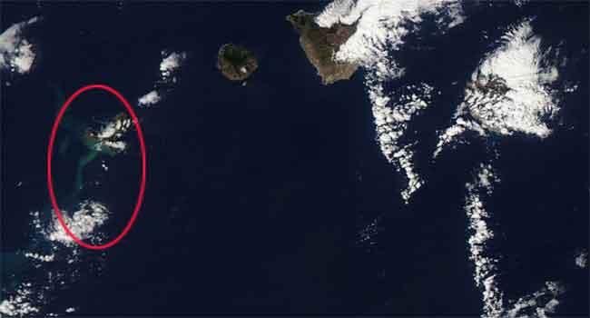 erupción en El Hierro desde el espacio, satélite Aaqua 13-11-2011