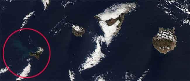 erupción de El Hierro desde el espacio, satélite Aqua 19-11-2011