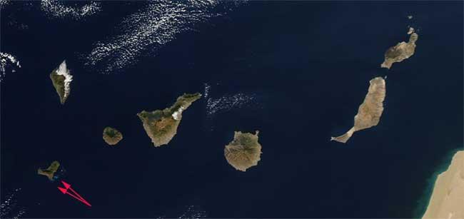 erupción El Hierro desde el espacio, Aqua 30-11-2011