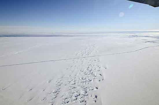 grietas en el glaciar Pine Island, Antártida
