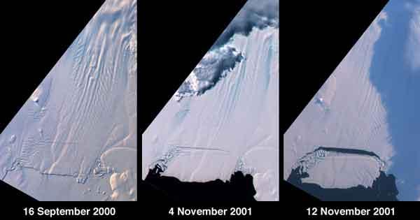 nacimiento de un iceberg en el glaciar Pine Island en 2001