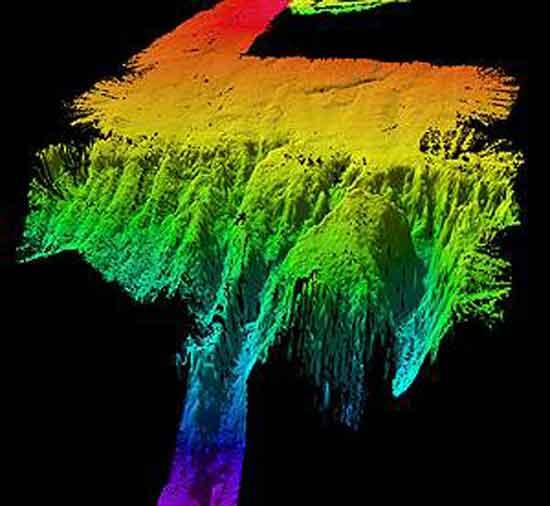 imagen de sonar de las masas de tierra sumergidas