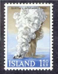 colas de gallo volcánicas en la isla Surtsey, sello