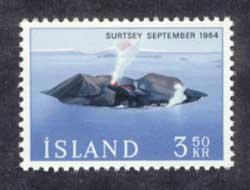 isla Surtsey en un sello