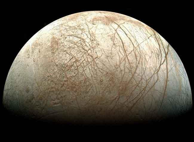 luna Europa de Júpiter desde la nave Galileo