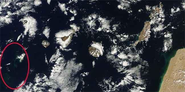manchas en el mar erupción El Hierro, satélite Tterra 05-11-2011