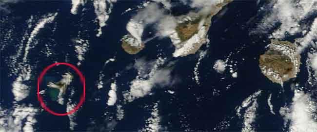 mancha de la erupción El Hierro, Terra 16-11-2011