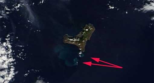 manchas erupción en El Hierro, satélite Terra 24-11-2011