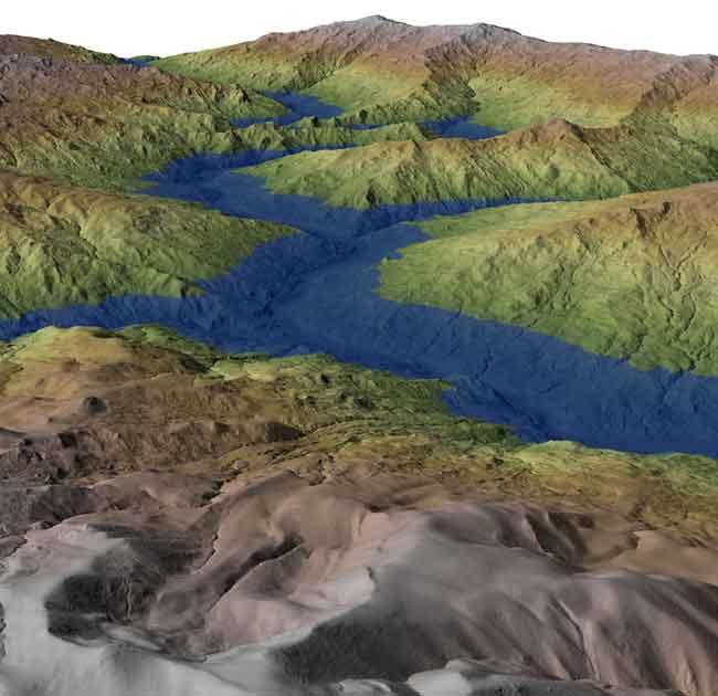 recreación paleo-lago en el río Eel, California