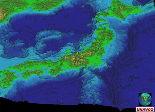batimetria de Japón en 3D