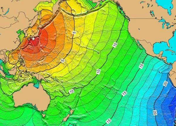 desplazamiento horario de las olas del tsunami de Japón