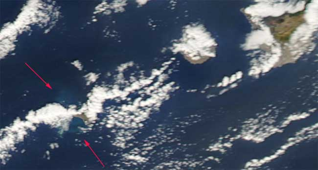 erupción en El Hierro desde el espacio, Aqua 05-12-2011