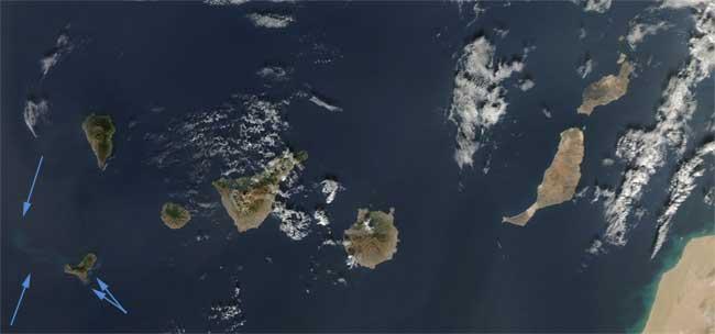 erupción El Hierro desde espacio, Aqua 09-12-2011