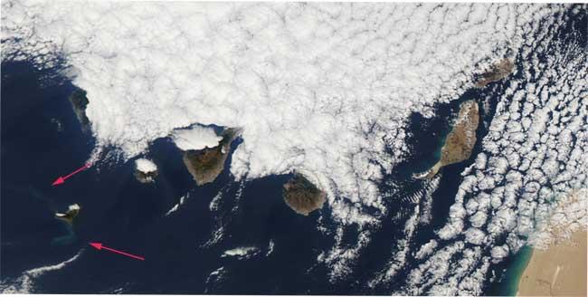 erupción El Hierro desde el espacio, Aqua 17-12-2011