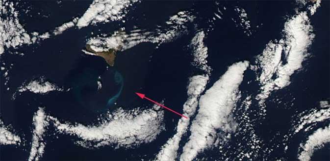 erupción El Hierro desde el espacio, Aqua 18-12-2011