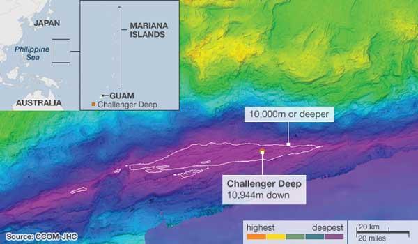 situación Fosa de las Marianas y zona cartografiada