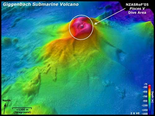 volcán submarino Giggenbach, batimetría