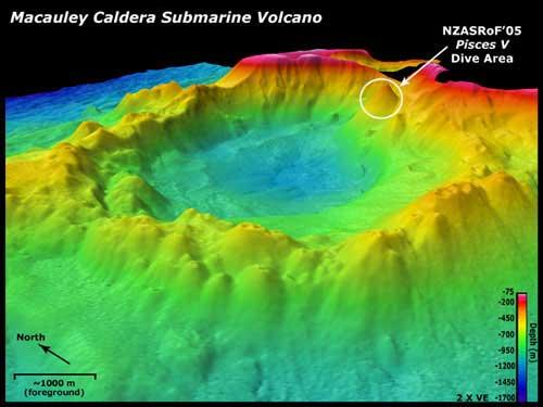 volcán submarino Macauley, batimetría