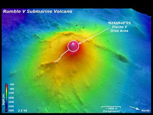 volcán submarino Rumble V, batimetría