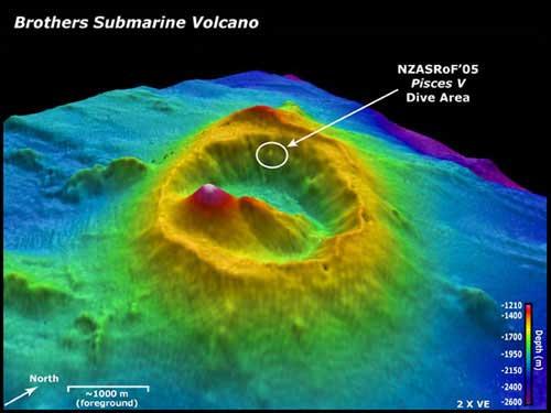 volcán submarino Brothers, batimetría