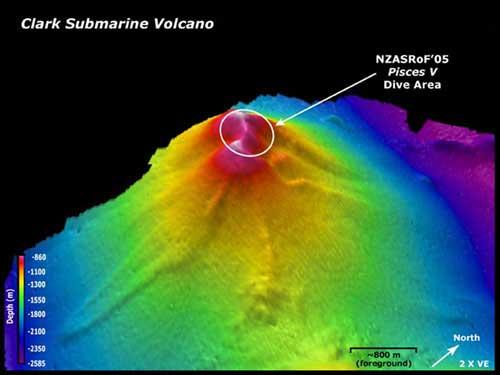 volcán submarino Clark, batimetría