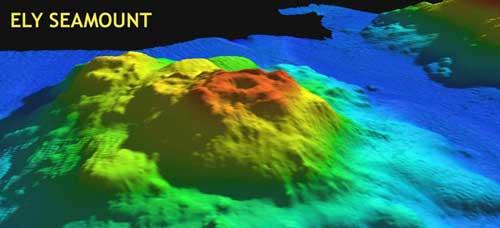 volcán submarino Ely, batimetría