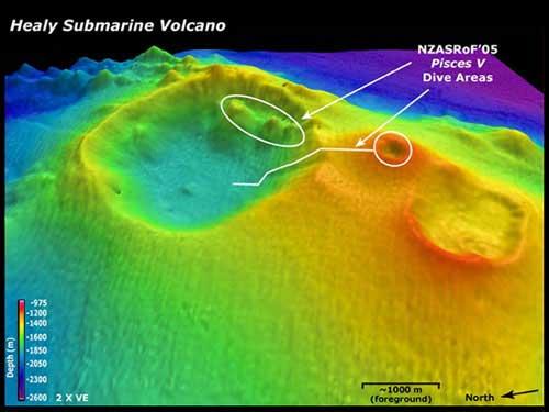 volcán submarino Healy, batimetría