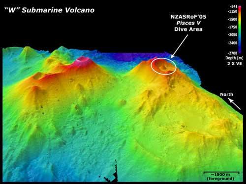 volcán submarino W, batimetría